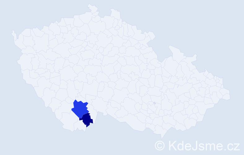 Příjmení: 'Adigamov', počet výskytů 5 v celé ČR