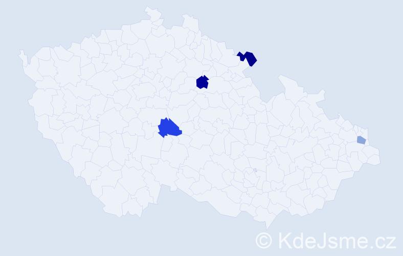 Příjmení: 'Kuter', počet výskytů 4 v celé ČR
