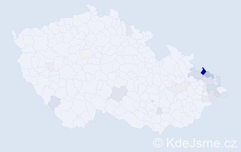 Příjmení: 'Kolarčíková', počet výskytů 84 v celé ČR