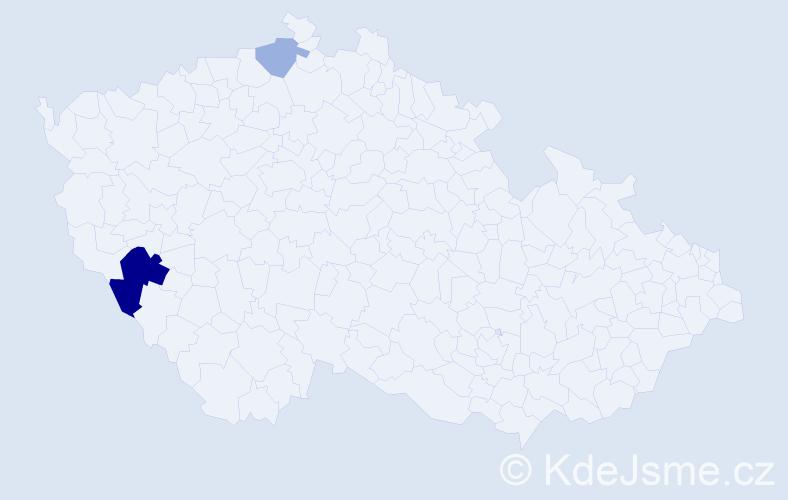 Příjmení: 'Hochwalderová', počet výskytů 5 v celé ČR
