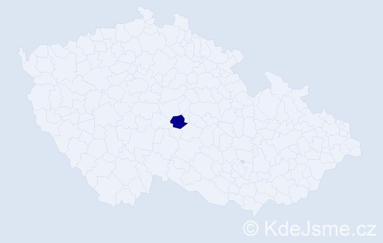 """Příjmení: '""""Čapková Černá""""', počet výskytů 1 v celé ČR"""