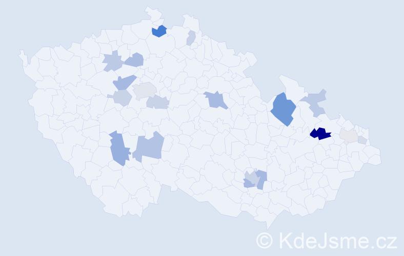 Příjmení: 'Hegyi', počet výskytů 40 v celé ČR