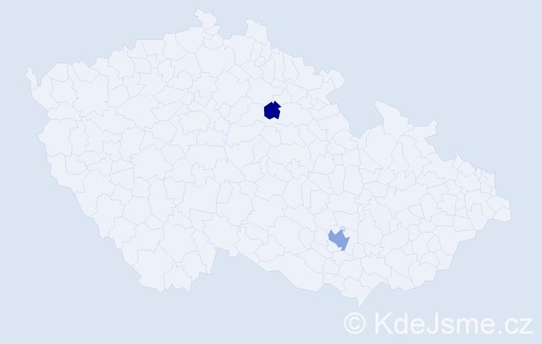 Příjmení: 'Kapitančik', počet výskytů 4 v celé ČR