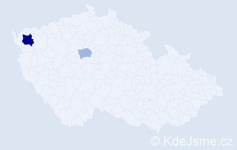Příjmení: 'Kalanyos', počet výskytů 5 v celé ČR