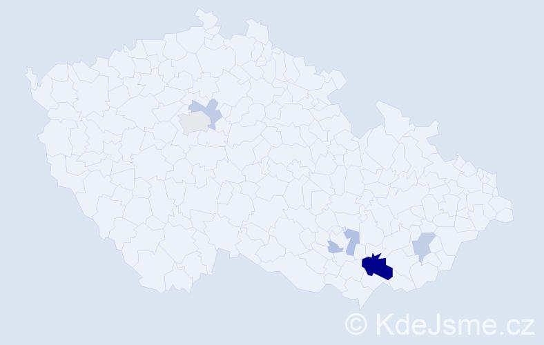 Příjmení: 'Klíglová', počet výskytů 12 v celé ČR