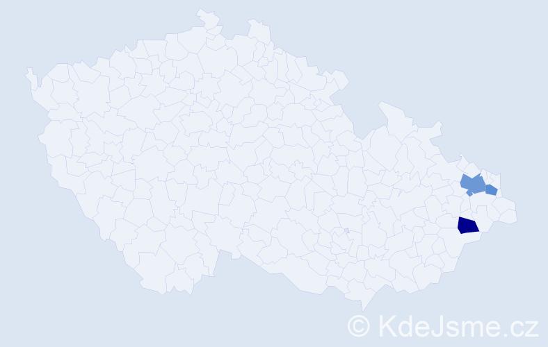 Příjmení: 'Hrubík', počet výskytů 4 v celé ČR