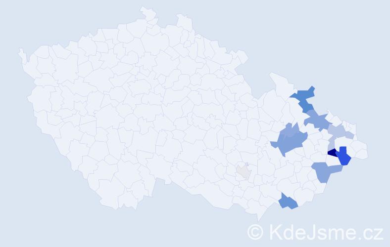 Příjmení: 'Kaděrka', počet výskytů 37 v celé ČR
