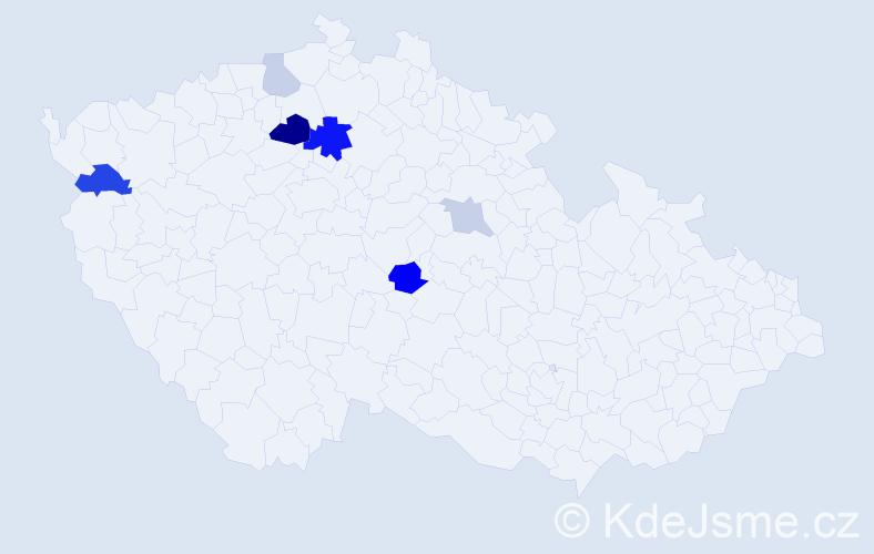 Příjmení: 'Čmedlová', počet výskytů 14 v celé ČR