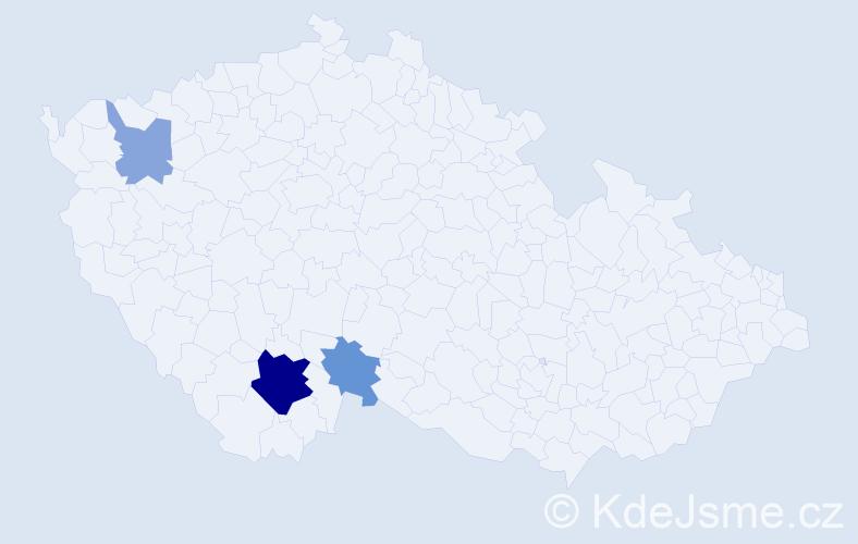 Příjmení: 'Čepčányová', počet výskytů 8 v celé ČR