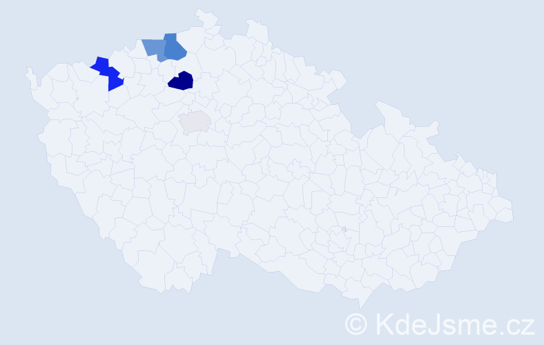 Příjmení: 'Klof', počet výskytů 10 v celé ČR