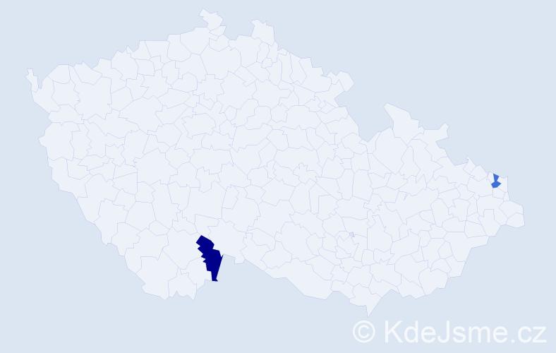 Příjmení: 'Danělišyn', počet výskytů 4 v celé ČR