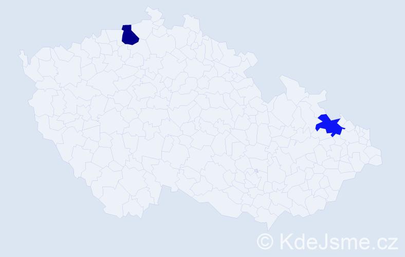 Příjmení: 'Česláková', počet výskytů 5 v celé ČR