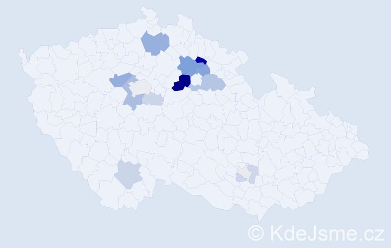 Příjmení: 'Karlas', počet výskytů 34 v celé ČR