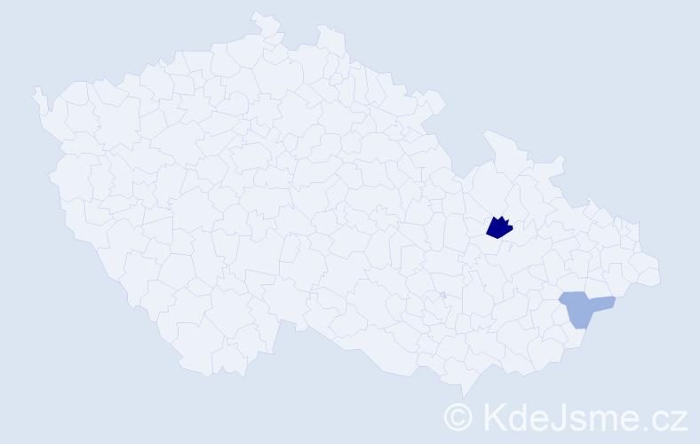 Příjmení: 'Czefera', počet výskytů 3 v celé ČR