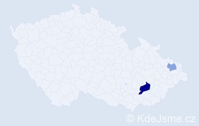 Příjmení: 'Kernbach', počet výskytů 5 v celé ČR