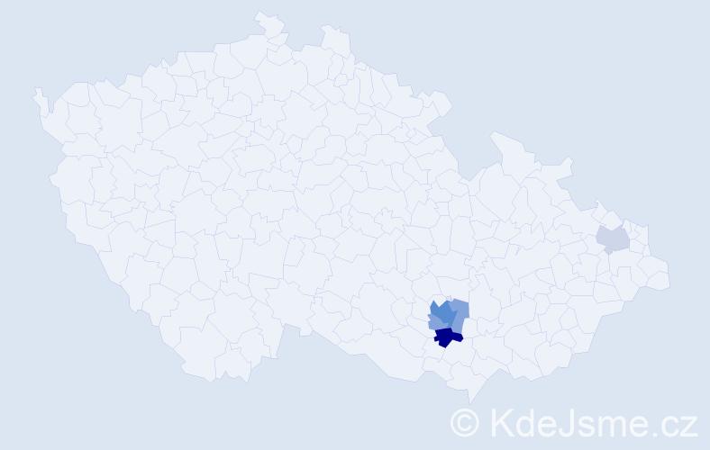 Příjmení: 'Gruza', počet výskytů 11 v celé ČR