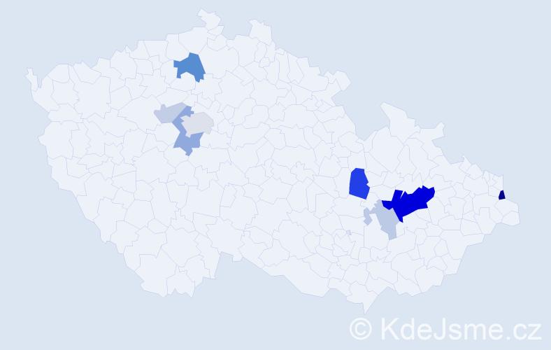 Příjmení: 'Kenická', počet výskytů 26 v celé ČR
