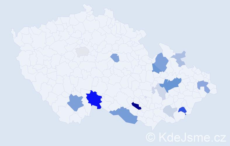 Příjmení: 'Hándl', počet výskytů 43 v celé ČR