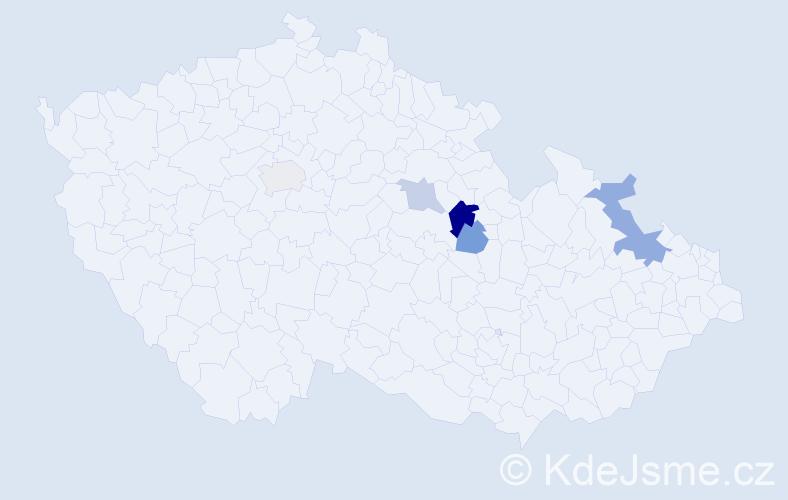 Příjmení: 'Fránerová', počet výskytů 10 v celé ČR