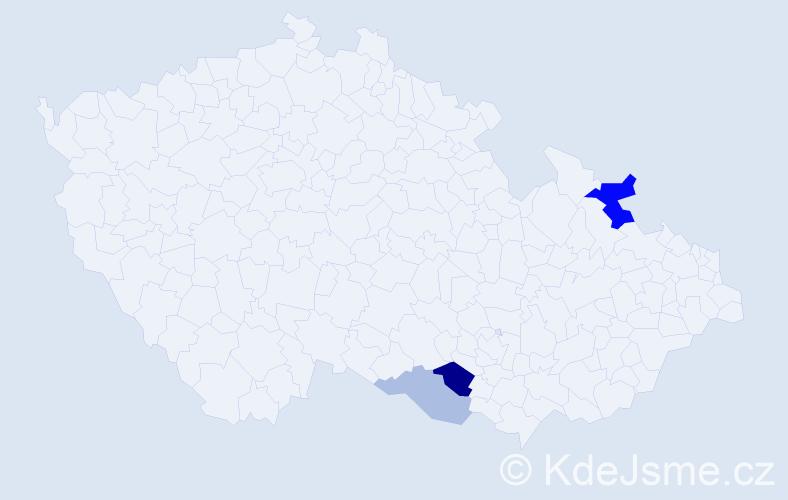 Příjmení: 'Hitlová', počet výskytů 6 v celé ČR