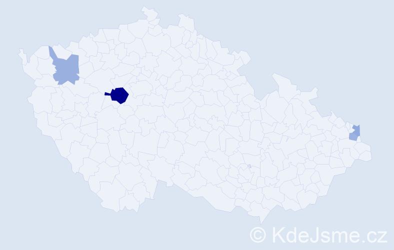 Příjmení: 'Csík', počet výskytů 7 v celé ČR