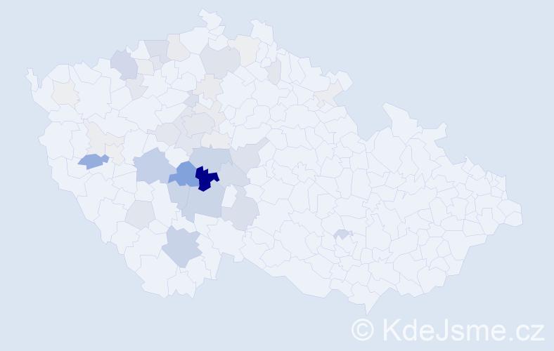 Příjmení: 'Karda', počet výskytů 146 v celé ČR