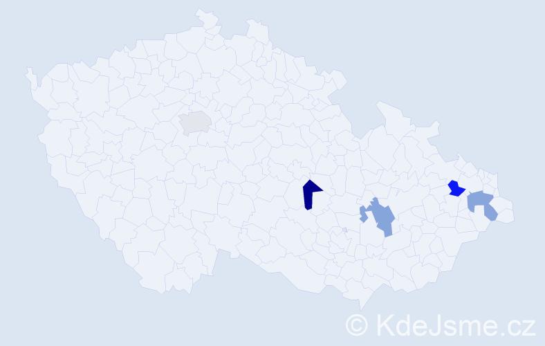 Příjmení: 'Hulka', počet výskytů 5 v celé ČR