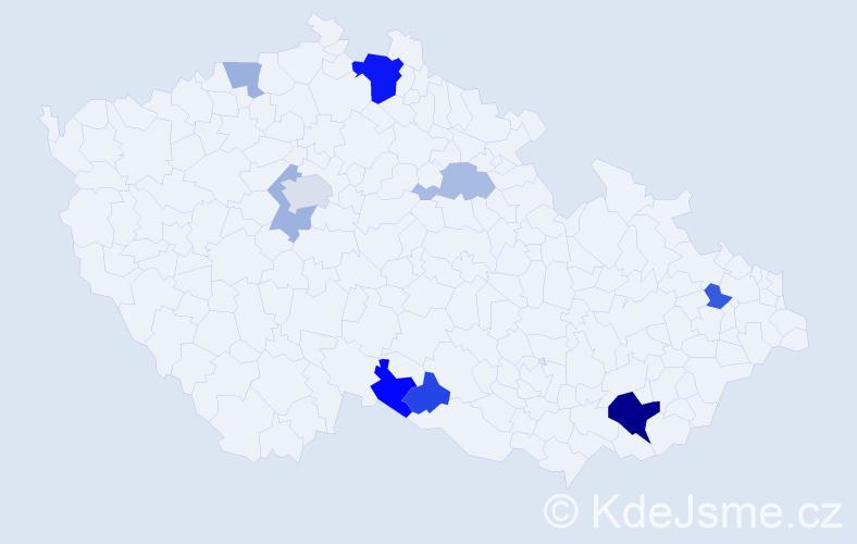 Příjmení: 'Hosák', počet výskytů 18 v celé ČR