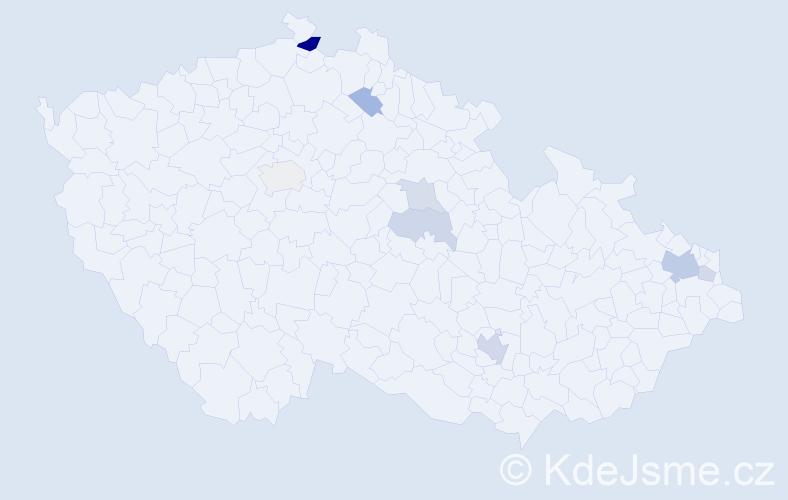 Příjmení: 'Ďurovec', počet výskytů 16 v celé ČR