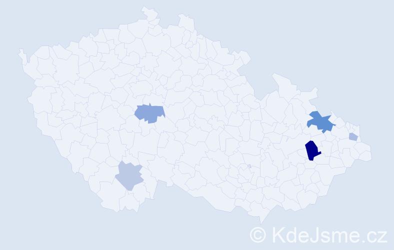 Příjmení: 'Adameová', počet výskytů 9 v celé ČR