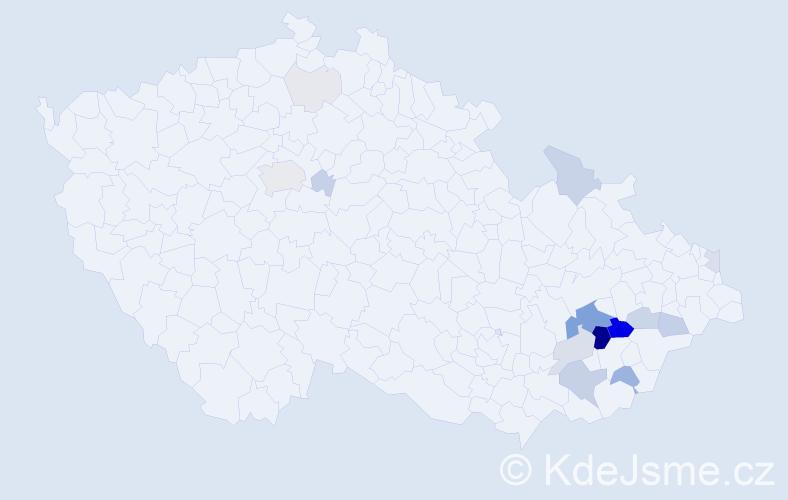 Příjmení: 'Daďa', počet výskytů 58 v celé ČR
