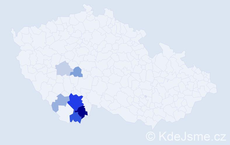 Příjmení: 'Hobizalová', počet výskytů 20 v celé ČR