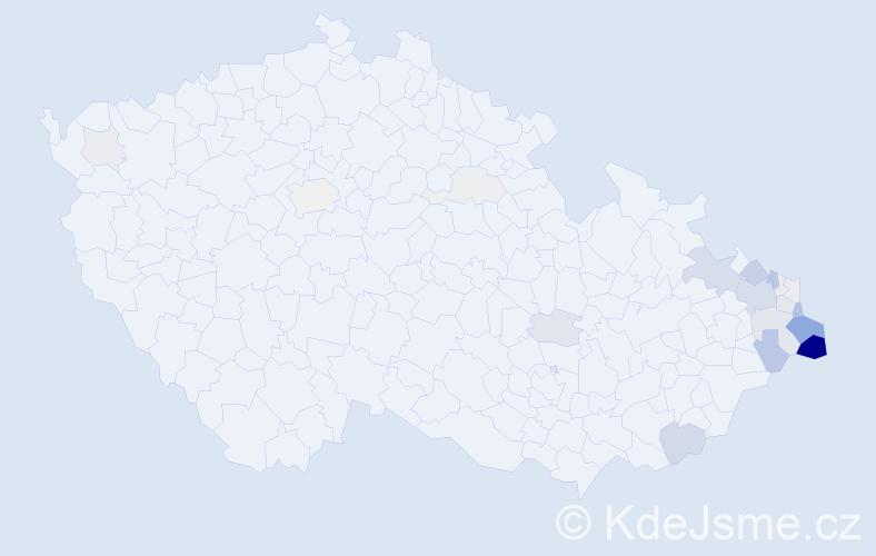 Příjmení: 'Krenželoková', počet výskytů 88 v celé ČR