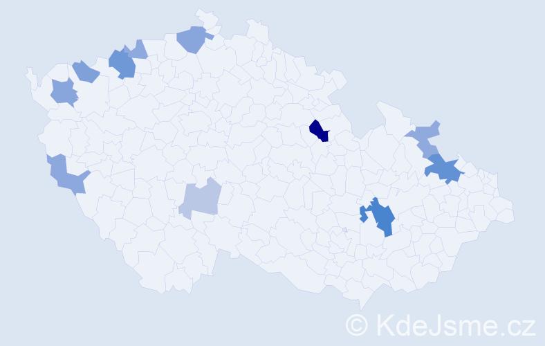 Příjmení: 'Fresser', počet výskytů 24 v celé ČR