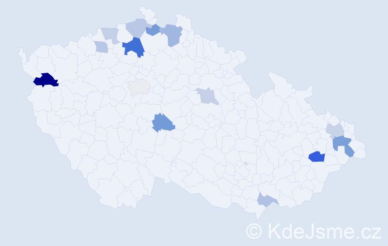 Příjmení: 'Hurtuková', počet výskytů 25 v celé ČR