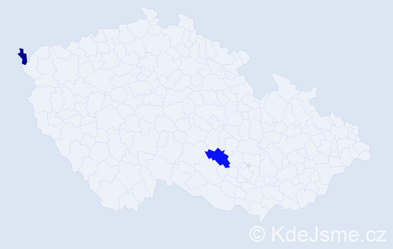 Příjmení: 'Ivančiková', počet výskytů 5 v celé ČR