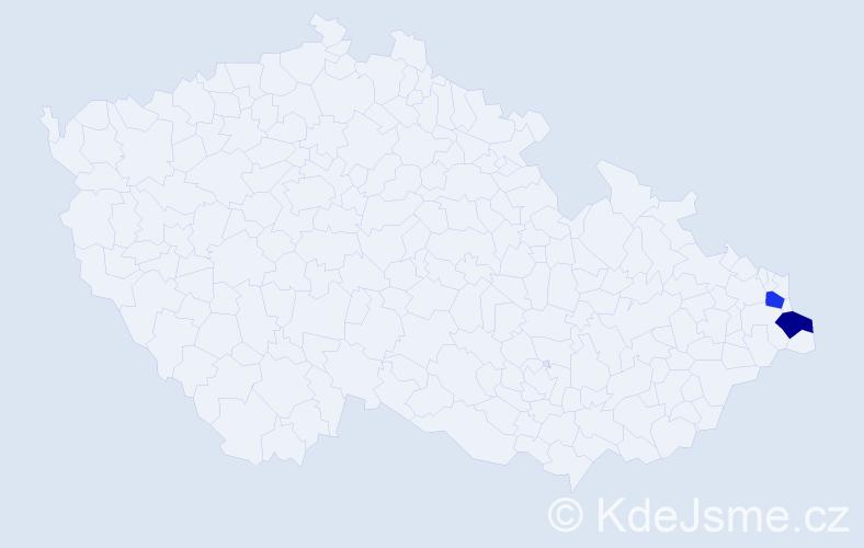 Příjmení: 'Csepcsar', počet výskytů 4 v celé ČR