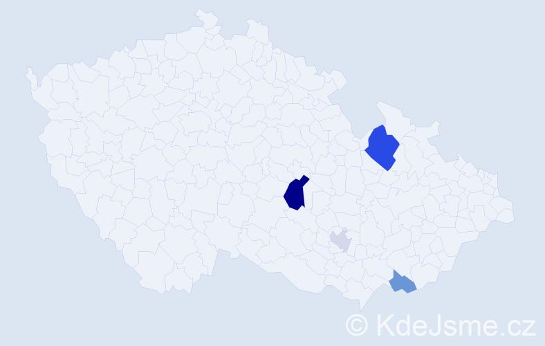 Příjmení: 'Hajčmanová', počet výskytů 8 v celé ČR