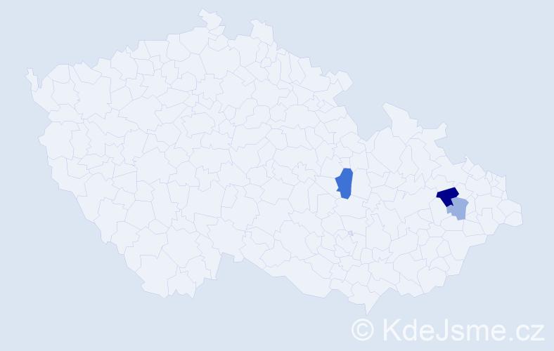 Příjmení: 'Lašak', počet výskytů 5 v celé ČR