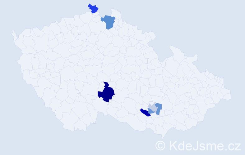 Příjmení: 'Hack', počet výskytů 8 v celé ČR