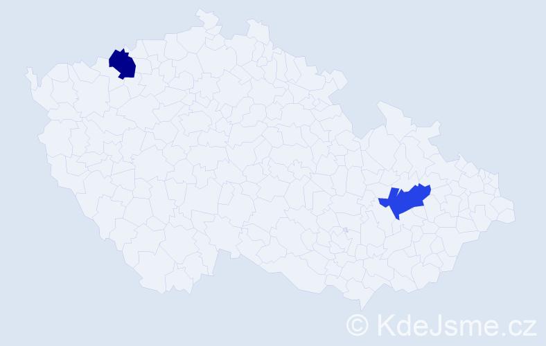 Příjmení: 'Ezer', počet výskytů 2 v celé ČR