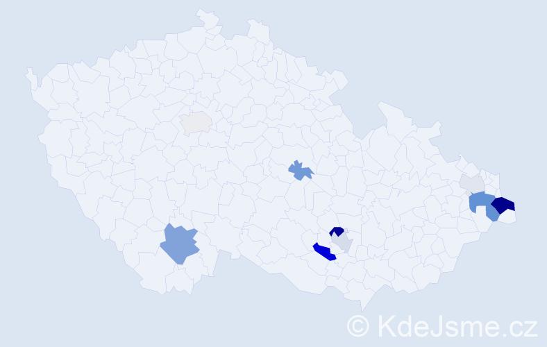 Příjmení: 'Čarvašová', počet výskytů 28 v celé ČR