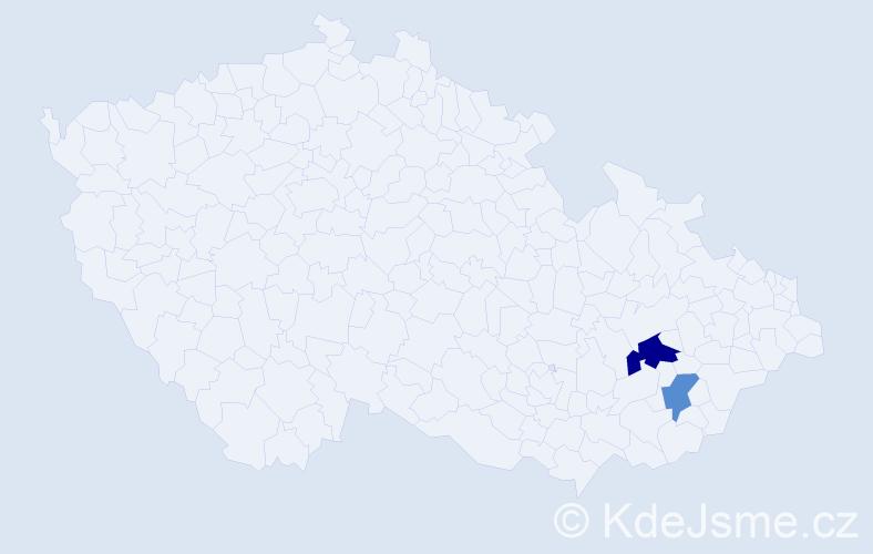 Příjmení: 'Krvačná', počet výskytů 6 v celé ČR