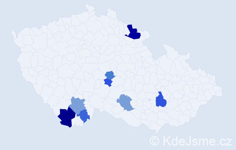 Příjmení: 'Čudka', počet výskytů 21 v celé ČR
