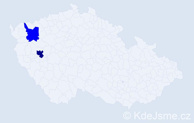 Příjmení: 'Kabyluško', počet výskytů 3 v celé ČR