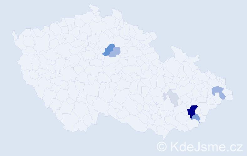 Příjmení: 'Končák', počet výskytů 26 v celé ČR