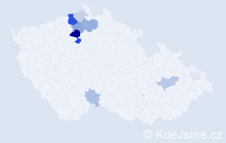 Příjmení: 'Derynková', počet výskytů 26 v celé ČR