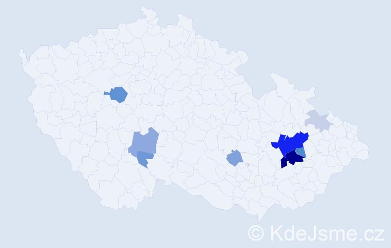 Příjmení: 'Grigárek', počet výskytů 30 v celé ČR