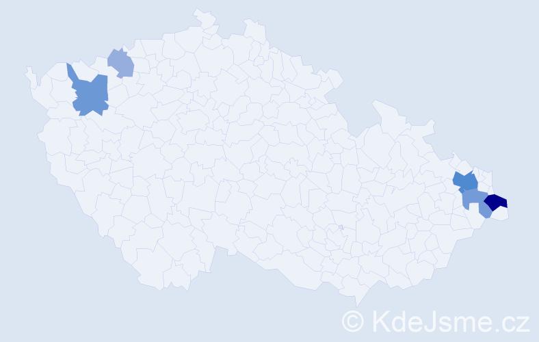 Příjmení: 'Delinčák', počet výskytů 16 v celé ČR