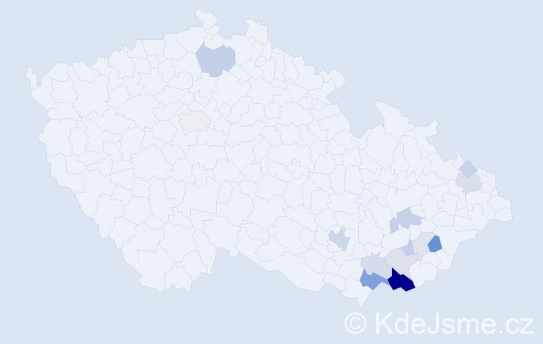 Příjmení: 'Búřilová', počet výskytů 38 v celé ČR
